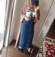 Women Muslim Bodycon Denim Islamic Decorative Button Furcal Long Maxi Jean Skirt