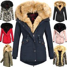 Navahoo Damen Jacke Mantel Winterjacke warm Kunstfell Luxus Doppelkapuze Sweety