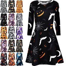 Ladies Womens Skull Round Sleeves Bats Pumpkin Smock Swing Mini Dress Plus Size