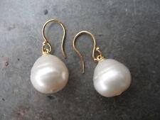 18KT Yellow Gold & Paspaley South Sea Pearl Earrings Shepard Hook 15 MM FINE