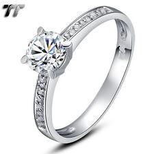 TT RHODIUM 925 Sterling Silver Engagement Wedding Ring (RW07) Size 6-10 NEW