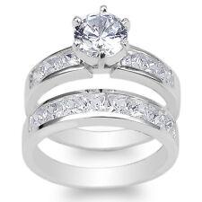 Ladies Set 10K White Gold 1.1ct Round CZ Wedding Channel Ring Size 4-10