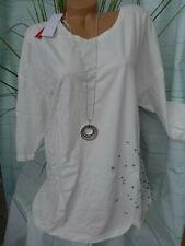 40//42-56//58 a maniche corte bianco tono in tono scritta Sheego shirt mis 433 NUOVO
