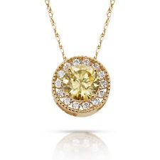 1.90CT Citrino Redondo Halo Piedra Preciosa Charm Colgante Collar 14K Oro
