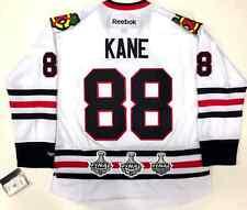 PATRICK KANE CHICAGO BLACKHAWKS 3X STANLEY CUP PATCH REEBOK PREMIER WHITE JERSEY