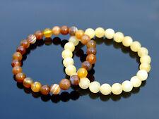 Couple Calcite/Agate Natural Gemstone Bracelet 6-9'' Elasticated Healing Stone