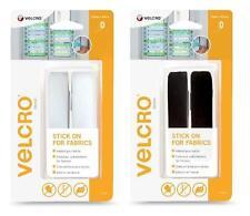 VELCRO® Brand Stick On For Fabrics - 19mm x 60cm White or Black Tape