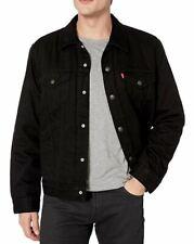 Levis Sherpa Camo Lined Black Denim Trucker Jacket Levi's Size M L XL XXL