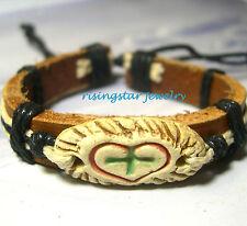 Handmade Cross Love Leather Fashion New Age Surfer Characters Bracelet Wristband