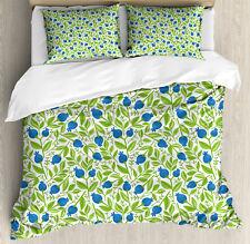 Fruits Duvet Cover Set with Pillow Shams Flowering Blueberry Leaf Print