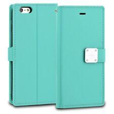 Premium Bi-Fold Card Cash Holder Strap Cover TPU Case for Apple Samsung- Mint
