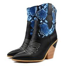 Womens Block Heel Western Biker Boots Cowboy Mid Calf Ankle Boots Shoes Plus Sz
