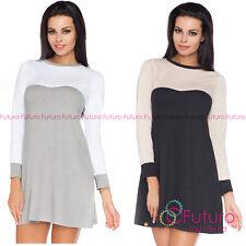 Da Donna Due Colori casual mini dress long sleeve plus Taglie 8 - 18 FA432