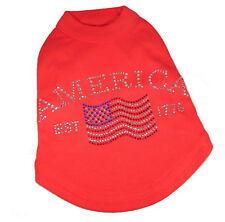 Red Dog Tank Shirt Top America Flag Tee T-Shirt