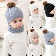 Toddler Baby Girl Boy Infant Winter Crochet Knit Hat Cute Beanie Cap Scarf Set