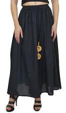 Bimba Women's Elastic Tassels Waist Bohemian Style Cotton Black Long Skirt