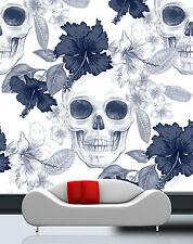 3D White Skull Flower Art 7722 Wall Paper Wall Print Decal Wall AJ WALLPAPER CA
