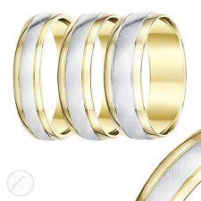 9ct Due Colori Oro Giallo E Bianco Fede Nuziale Fede Comoda 5mm,6mm Fedina
