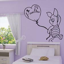 Stickers Winnie Porcinet-Ballon + Prénom Personnalisable - Choix Taille-couleur