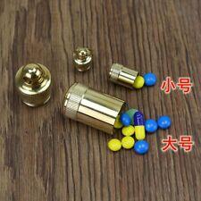 Waterproof Brass Mini Pill Box Case Travel Medicine Bottle Container Box Keyring