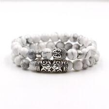 Men Charm 8mm Natural Black Lava Stone Silver Reiki Beads Set Buddha Bracelets