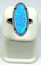 BLUE FIRE OPAL & WHITE TOPAZ 925 STERLING SILVER BLACK RHODIUM RING SIZE 9