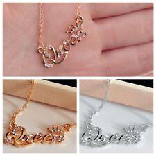 Elegant Letter Queen Pendant Necklace Shiny Rhinestone Clavicle Chain Fashion