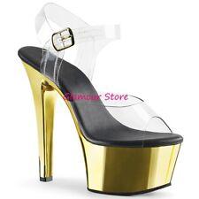 Sexy SANDALI tacco 15 ORO/TRASPARENTE plateau cinturino scarpe CLUB dal 35 al 41