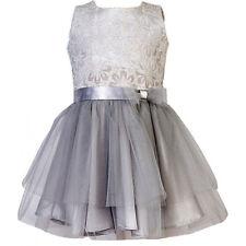 Neu Mädchen Kleid Festlich Einschulung Hochzeit Jugendweihe mit Seide Tüll Grau