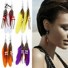 Vintage Bohemian Feather Earrings Chain Dangle Ear drop Fashion Handmade Jewelry