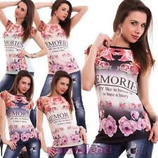Suéter mujer camiseta flores strass manga corta cuello redondo nueva Y690