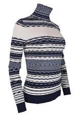 NEW Tory Burch Women's JULIE $298 Blue Cream Striped Turtleneck Sweater