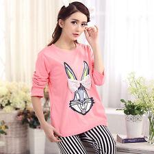 Ladies Women Pink Bugs Bunny With Bow Long Top Trousers Pyjamas Pajamas ladpj48