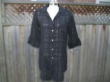 Donna Resort Men's Style Black CoverUp w/ Silver Thread