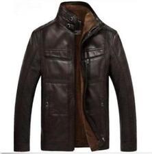 winter mens warm  Leather fur lining jacket coat outwear trench Parka Sport Work