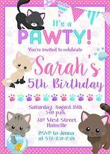 Cat, Kitten, Kitty, Birthday Party Invitation, Girl, Pink, Cat Invitation