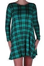 Womens Casual Tartan Check Flared Swing Long Sleeve Scoop Neck Short Mini Dress