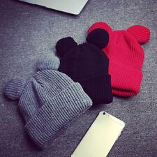 1pcs Hat Female Winter Caps Hats For Women Devil Horns Ear Cute Crochet Braided