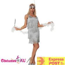 Grey 1920s Flapper Charleston Fancy Dress Costume Cigarette Holder Necklace Boa