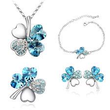 Bridal Hearts 4 Leaf Clover 4 in 1Jewelry Set: Earrings Necklace Bracelet Brooch