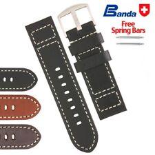 Banda Premium Cowboy Stripe Fine Leather Watch  Bands, Sizes 20 - 26mm - NEW