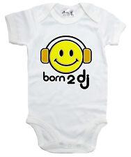 "Música divertida Body ""nacido para Auriculares DJ"" Bebé Crecen Chaleco sonriente cara club"