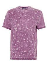 TOPMAN Boys Mens Purple Burnout  Short Sleeve T-Shirt With Stars - Extra Small