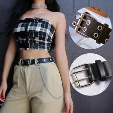 Women Men Punk Leather Belt Rivet Eyelet Stud Double Grommet Holes Buckle Chain