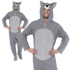 LUPI GRIGI Adulti Costume Animale Selvatico con cappuccio Jump Suit Fancy Dress Outfit