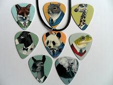 Unusual Animal Gentlemen Guitar Pick / Plectrum  Leather Necklace   8 to Choose
