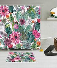 "72/79""Colorful Cactus Flower Waterproof Bathroom Decor Shower Curtain&Mat&12Hook"