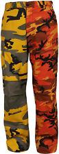 Orange & Yellow Camouflage Two Tone Fashion Icon BDU Cargo Pants Trousers