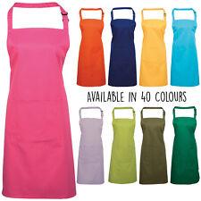 Unisex Plain Colours Bib Apron With Pocket Cooking Baking Kitchen Craft Chef
