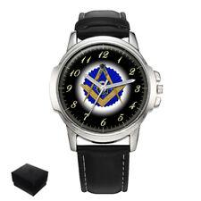 Reloj de Pulsera plaza & brújulas masónica Mason Caballeros Hombre Regalo Grabado